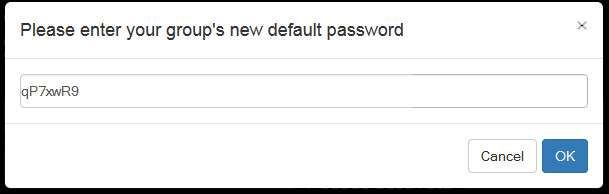 Group default password dialog
