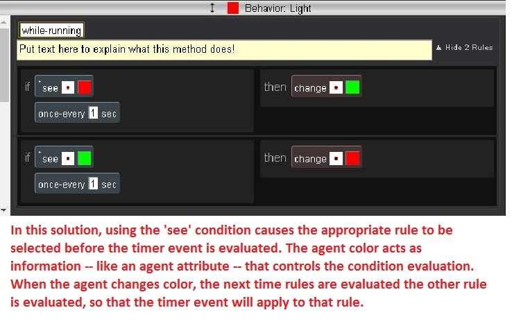 "The Light agent's revised rules. ""See"" condition is used to test the color of the Light agent."